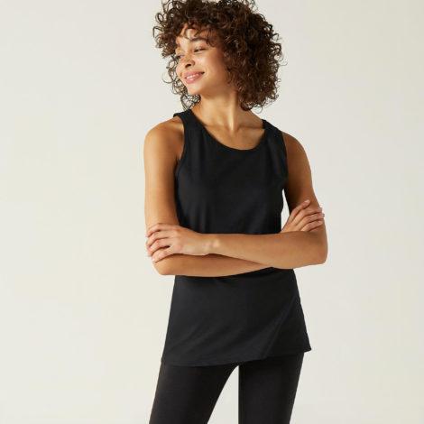 Top Fitness 100 % Baumwolle Damen schwarz