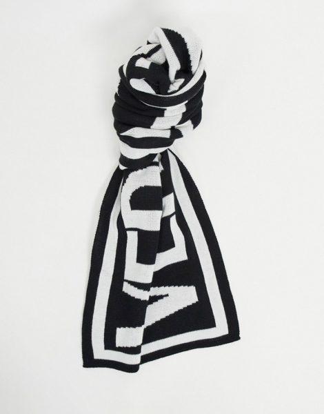 Versace Jeans Couture - Schal mit großem Logoprint in Schwarz und Weiß