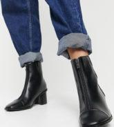 Yours - Schwarze Stiefel mit Absatz und Reißverschluss-Detail
