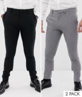 ASOS DESIGN - 2er-Pack super enge, elegante Hosen in Schwarz und Grau, JETZT SPAREN-Mehrfarbig