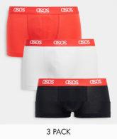 ASOS DESIGN - 3-er Pack Boxershorts in Weiß mit rotem Bund-Mehrfarbig