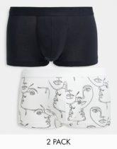 ASOS DESIGN - 3er-Set kurze Unterhosen in Schwarz-Weiß mit Gesichtsmotiven-Mehrfarbig