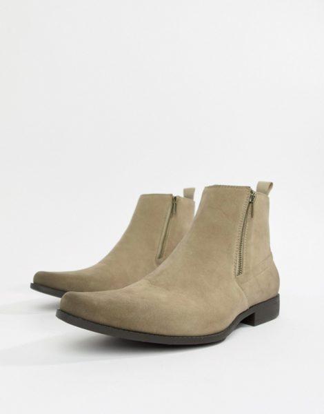 ASOS DESIGN - Chelsea-Stiefel in Stone mit Reißverschlüssen in Wildleder-Optik