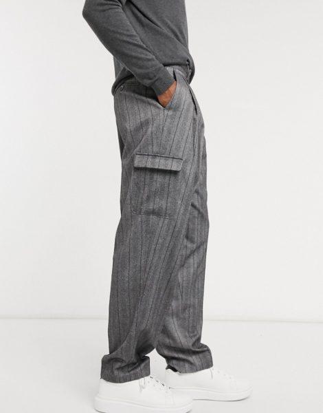 ASOS DESIGN - Elegante Cargo-Hose in Grau mit weitem Bein