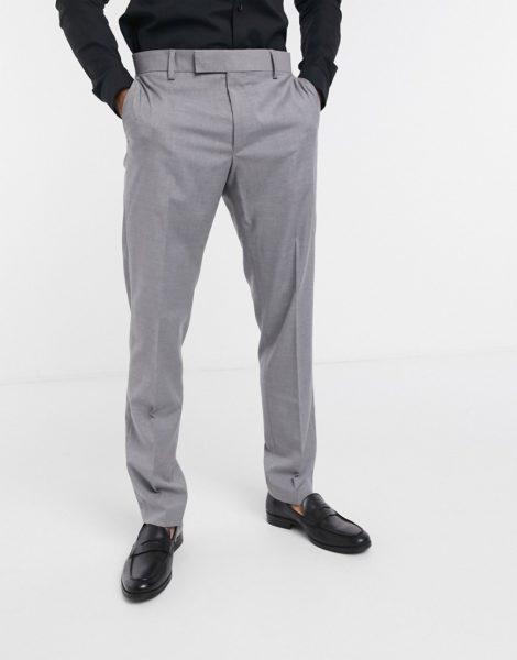ASOS DESIGN - Elegante, schmal geschnittene Hose in Grau