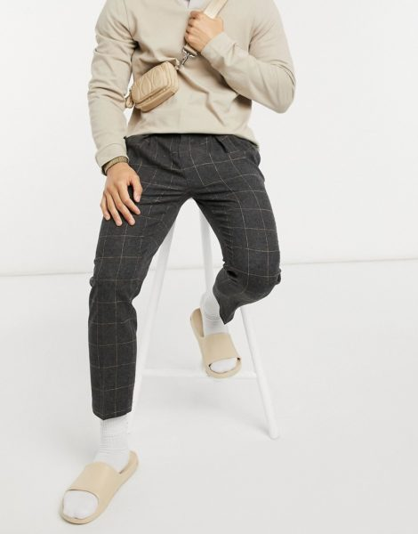 ASOS DESIGN - Elegante, schmal zulaufende Hose aus Wollmischung mit Karomuster-Grau