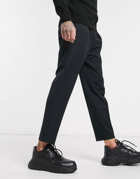 ASOS DESIGN - Elegante, schmal zulaufende Hose in Schwarz