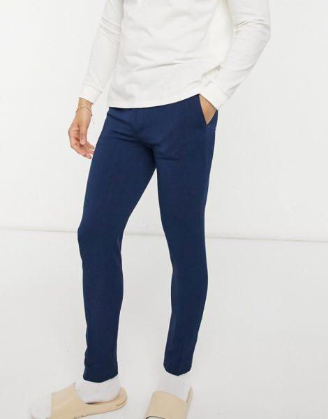 ASOS DESIGN - Elegante, sehr eng geschnittene Oxford-Hose in Marine-Marineblau