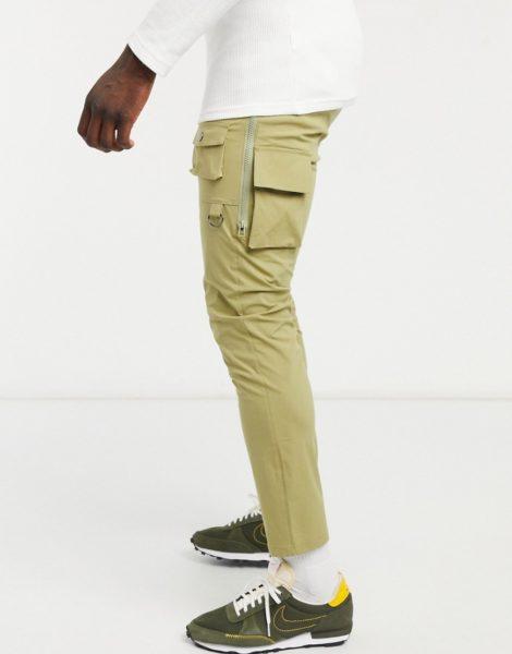 ASOS DESIGN - Enge Hose mit Seitenreißverschluss in hellem Khaki-Grün