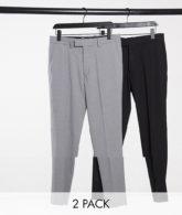 ASOS DESIGN - Enge Hosen in Schwarz und Grau im 2er-Set-Mehrfarbig