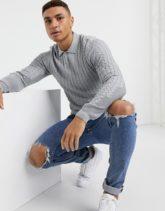 ASOS DESIGN - Figurbetonter Pullover mit Zopfmuster und Polokragen in Grau