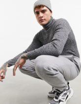 ASOS DESIGN - Gerippter Muskel-Pullover mit Rollkragen in Schwarz und Weiß-Grau