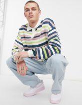 ASOS DESIGN - Gestrickter Pullover mit Polokragen in Rosa gestreift