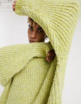 ASOS DESIGN - Hellgrüner Oversize-Pullover aus grobem Strick
