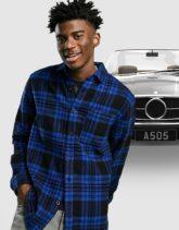 ASOS DESIGN - Hemdjacke aus Wollmischung mit blauem und schwarzen Schottenmuster