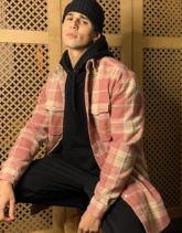 ASOS DESIGN - Kariertes Oversize-Hemd aus gebürstetem Flanell in Staubrosa im Stil der 90er