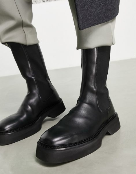 ASOS DESIGN - Knöchelhohe Chelsea-Stiefel aus Leder mit dicker Sohle in Schwarz