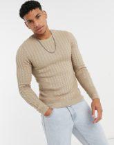 ASOS DESIGN - Leichter Muskel-Pullover mit Zopfmuster in Hafer-Beige