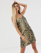 ASOS DESIGN - Mini-Camisole-Kleid mit Leopardenmuster bedruckt-Mehrfarbig