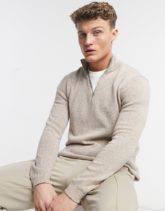 ASOS DESIGN - Mittelschwerer Pullover mit halblangem Reißverschluss in Hellbeige meliert
