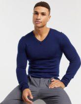 ASOS DESIGN - Muskel-Pullover aus Merinowolle mit V-Ausschnitt in Marine-Navy
