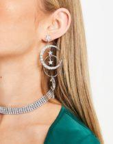 ASOS DESIGN - Ohrringe mit Stern- und Mondanhänger mit Strass in Silber
