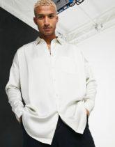 ASOS DESIGN - Oversize-Hemd aus Satin in Champagner-Beige