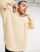 ASOS DESIGN - Oversize-Pullover in Hellbeige mit Halbpatentmuster
