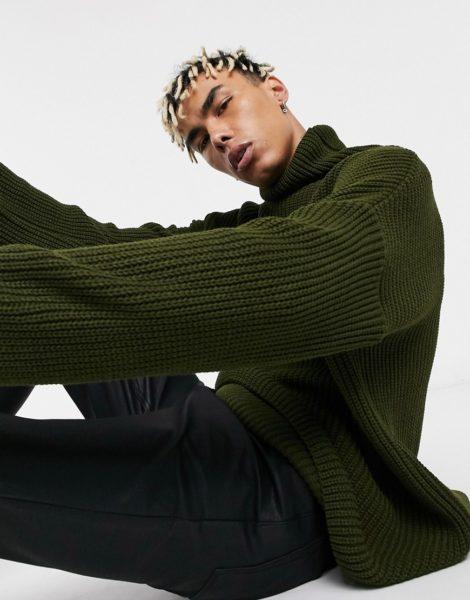 ASOS DESIGN - Oversize-Pullover mit Tunnelkragen in Khaki-Grün