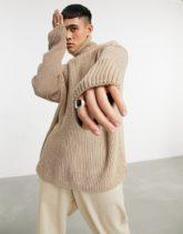 ASOS DESIGN - Oversized-Pullover in Beige mit weitem Stehkragen und kontrastierenden Ärmeln