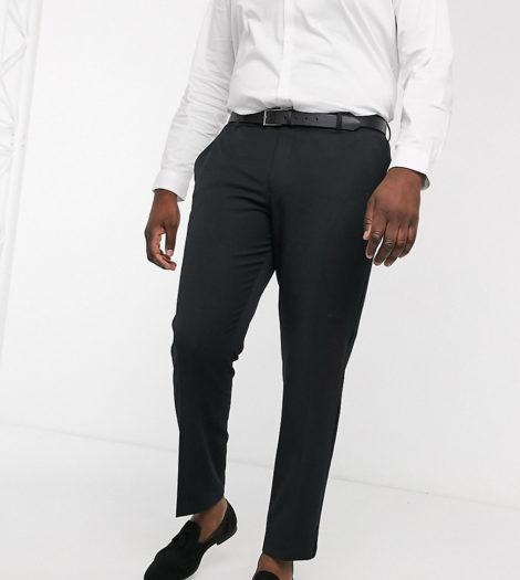 ASOS DESIGN - Plus - Eng geschnittene, elegante Smoking-Hose in Schwarz