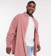 ASOS DESIGN Plus - Lang geschnittenes Oversize-Hemd in Rosé-Rosa