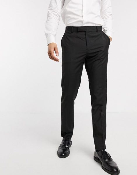 ASOS DESIGN - Schmale, elegante Hose in Schwarz