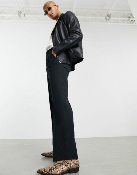 ASOS DESIGN - Schwarze, elegante Hose mit weitem Beinschnitt