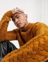 ASOS DESIGN - Schwerer Pullover im Handstrick-Look, Camel-Braun