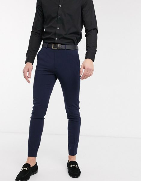 ASOS DESIGN - Sehr enge, elegante Hose in Marine-Navy