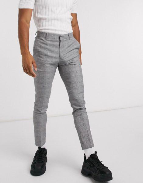 ASOS DESIGN - Sehr enge, elegante Hose mit schwarz-weißem Karomuster