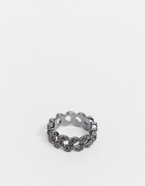 ASOS DESIGN - Silberfarbener Ring im Kettendesign mit Strasssteinbesatz