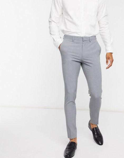 ASOS DESIGN - Superenge, elegante Hose in Grau
