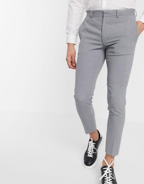 ASOS DESIGN - Superenge, elegante Hose in Grau mit kurzem Schnitt