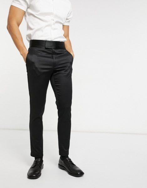 ASOS DESIGN - Superenge, elegante Hose in Schwarz aus geometrischem Jacquard mit Kummerbund