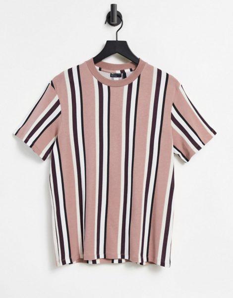 ASOS DESIGN - T-Shirt in Staublila mit vertikalen Streifen-Mehrfarbig