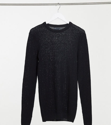 ASOS DESIGN Tall - Muskel-Pullover mit Waffelmuster in Schwarz