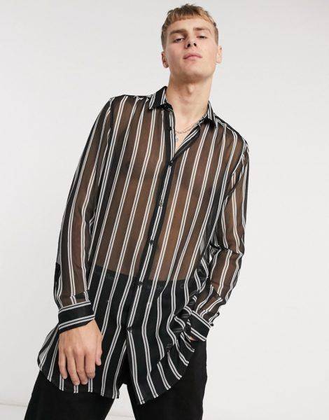 ASOS DESIGN - Transparent gestreiftes, lang geschnittenes Hemd mit regulärer Passform an der Taille und abgerundetem Saum-Schwarz