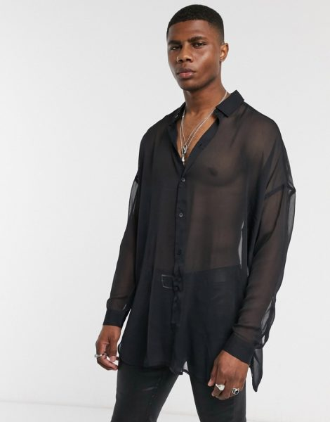 ASOS DESIGN Wide Fit - Transparentes Hemd in Schwarz