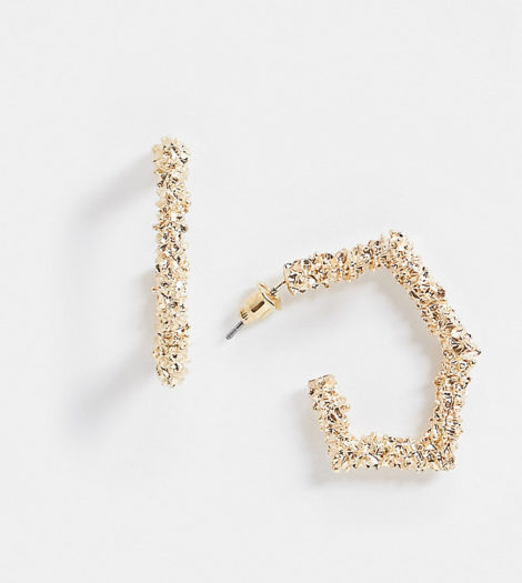 Accessorize - Exklusive, strukturierte, sechseckige Ohrringe in Gold