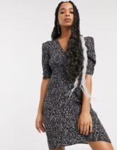 AllSaints - Josephine - Minikleid mit Leopardenmuster-Grün