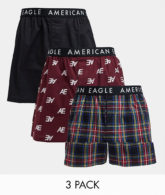 American Eagle - Boxershorts mit Karomuster und All-over-Logo in einfarbigem Schwarz im 3er-Pack-Mehrfarbig