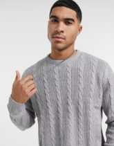 Another Influence Pullover mit Zopfmuster in Hellgrau
