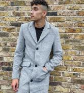 Another Influence Tall - Grauer Mantel aus Wollmischung